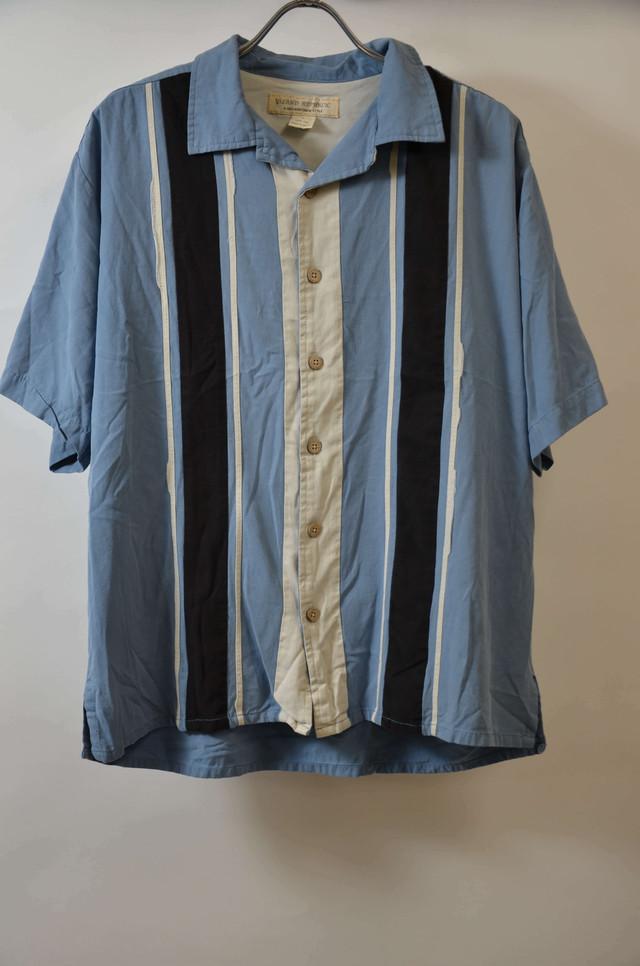 【Lサイズ】 ISLAND REPUBLIC STRIPE SHIRTS 開襟シャツ BLUE 400602190750