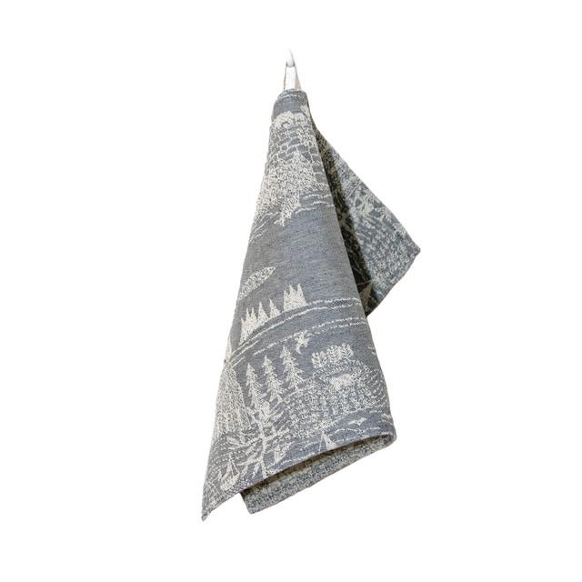 【完売】ひびのこづえ キッチンクロス「ある一日」/ グレー リトアニアリネン 44x32cm リトアニア製 KL18-01