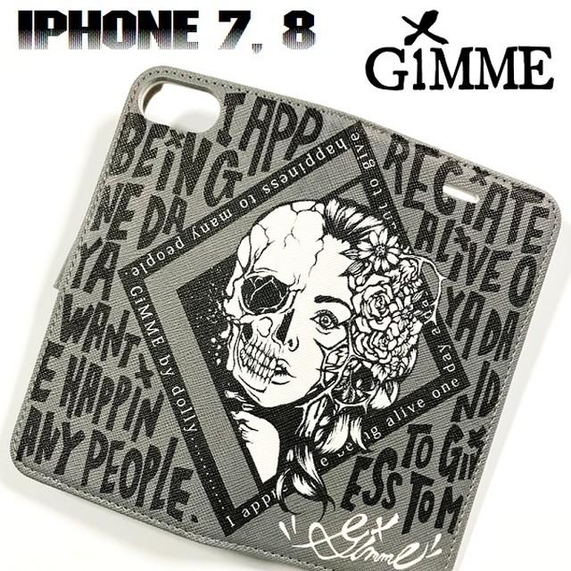 GiMME / ギミー「iPhone CASE TYPE-H」手帳型 アイフォンケース カバー スマホケース カバー スマートフォン iPhone7 iPhone8 携帯 黒白 グレー ブラック ホワイト スカル ドクロ メンズ レディース ロック パンク バンド ROCK PUNK ギフトラッピング無料 人気 売れ筋 Rogia