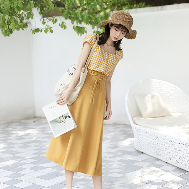 綺麗 オルチャンファッション セットアップ シャツ+スカート RPSK061402