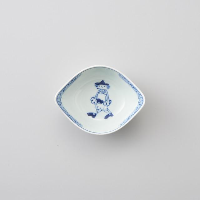 【青花】マント異人 舟型小鉢