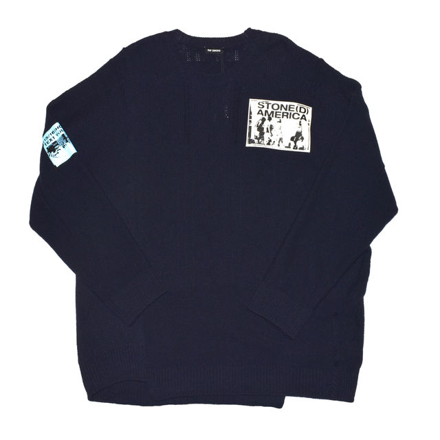 Raf Simons Oversized roundneck sweater with patches