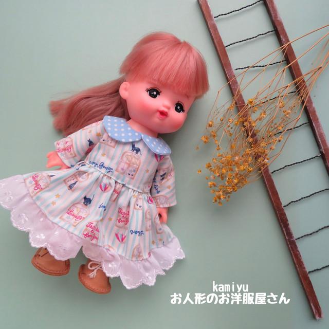 ふんわり袖の2段フリルワンピース(赤・青)メルちゃんソランちゃん