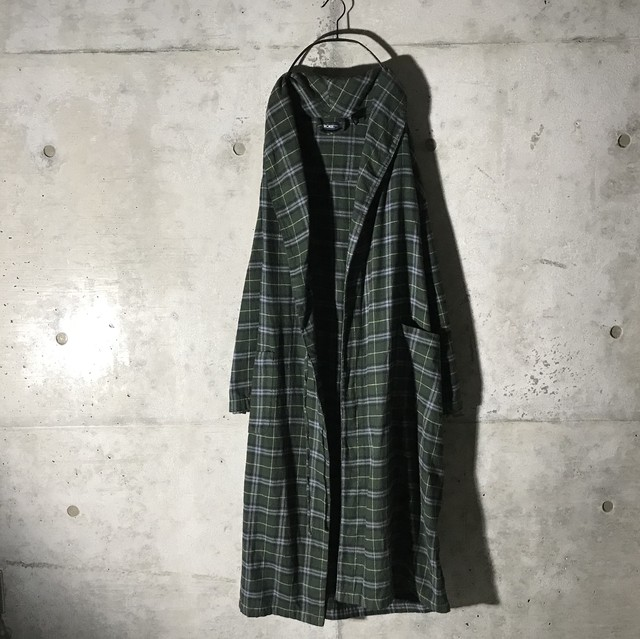 [used]dark green check gown coat