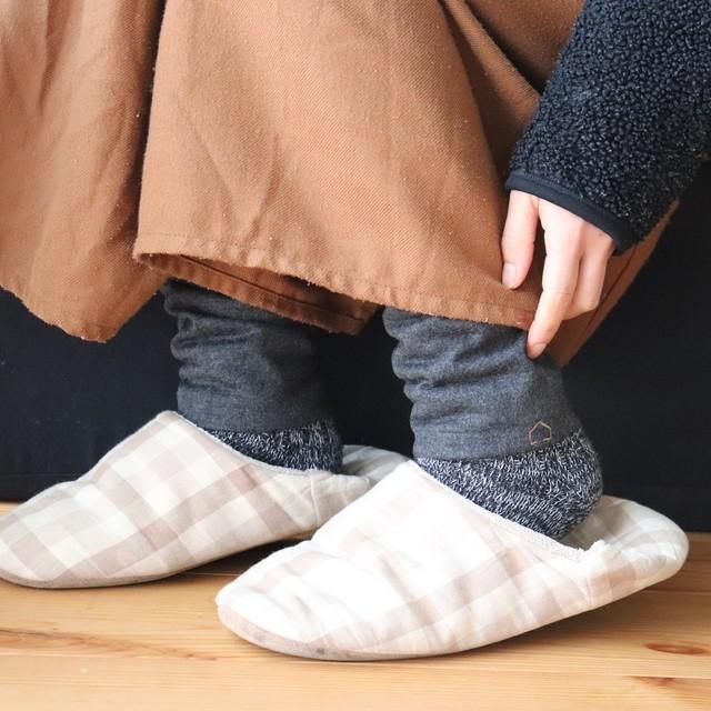 佩×ケノコト【レッグウォーマー】黒ごま/ウール100%/足首の冷え取りに/足元の差し色に