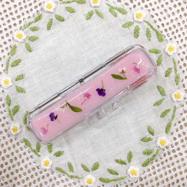 押し花印鑑ケース❁ ハンドメイド 【ピンクb】 ギフト 新生活 母の日ギフト