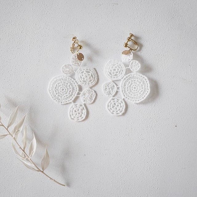 【両耳用】lace earring WHITE