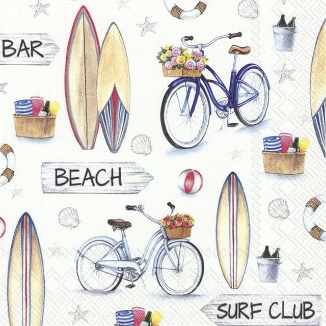 【IHR】バラ売り2枚 ランチサイズ ペーパーナプキン SURF CLUB ホワイト