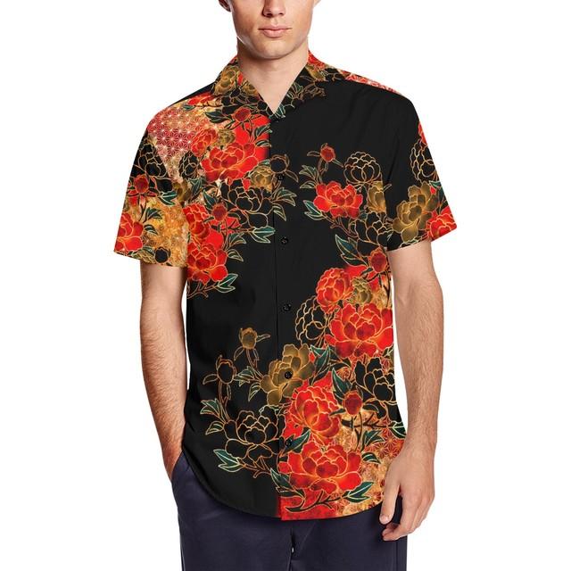 牡丹家紋黒 和柄アロハシャツ