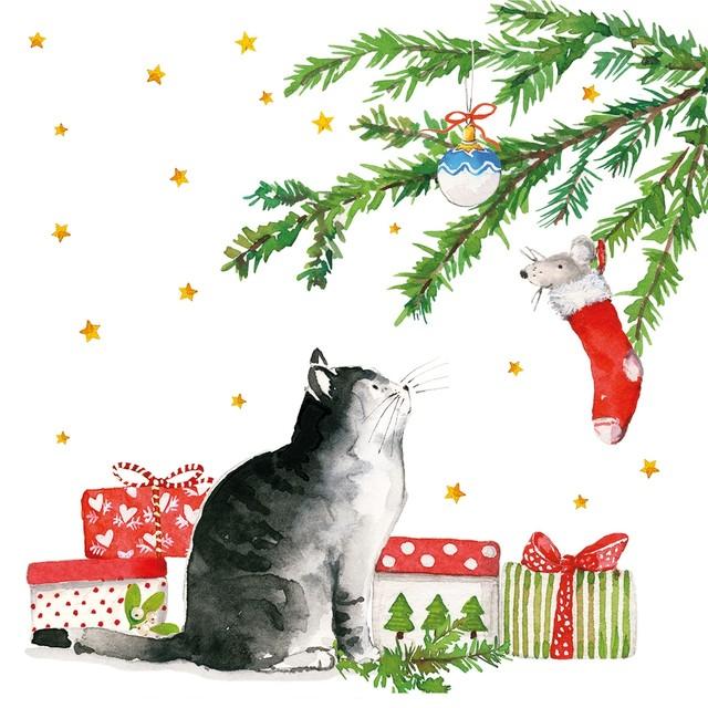 【Paperproducts Design】バラ売り2枚 ランチサイズ ペーパーナプキン Christmas Cat ホワイト