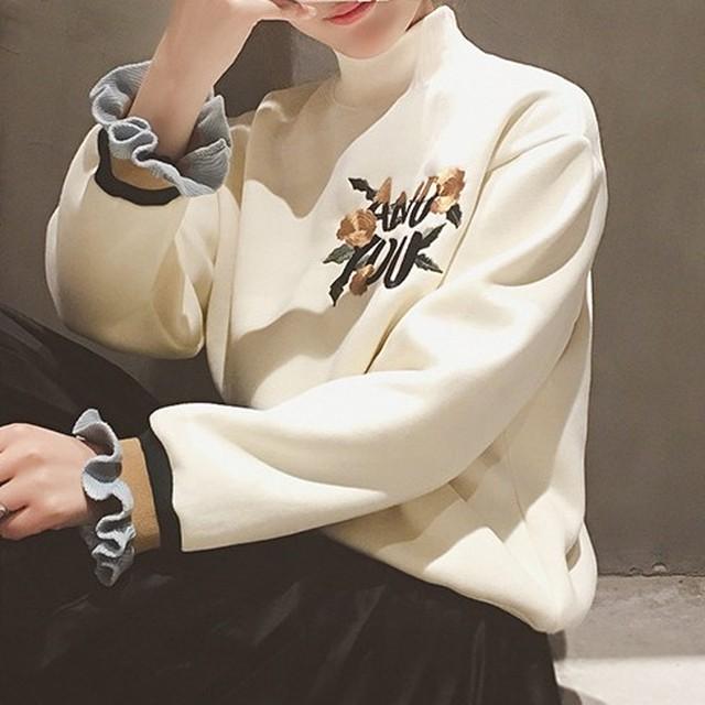 【トップス】ファッション刺繍ギャザー飾りアルファベットプルオーバーパーカー38316058