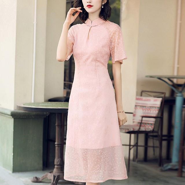 チャイナドレス パーティードレス ワンピース チャイナ風服 中華服 スタンドネック 半袖 ロング丈 エレガント 着痩せ 上品 大きいサイズ S M L LL 3L 高級感ある 上品 ピンク 改良型