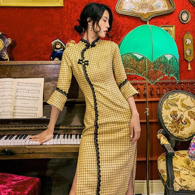 ロング丈チャイナドレス 改良型チャイナドレス チェック柄チャイナドレス チャイナ風ワンピース ロングドレス 七分袖 大きいサイズ S M L LL 3L イエロー 黄色い