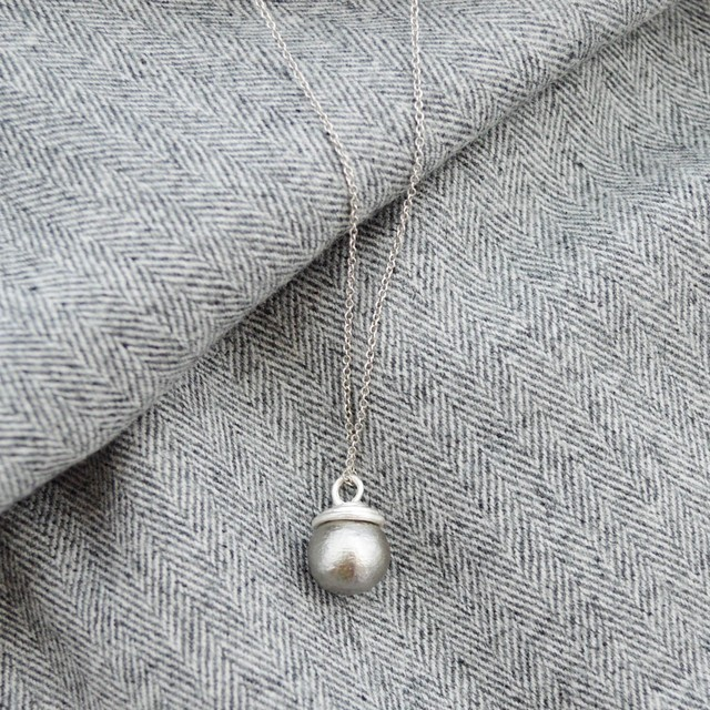Long Cotton Pearl Chain Necklace(gray)