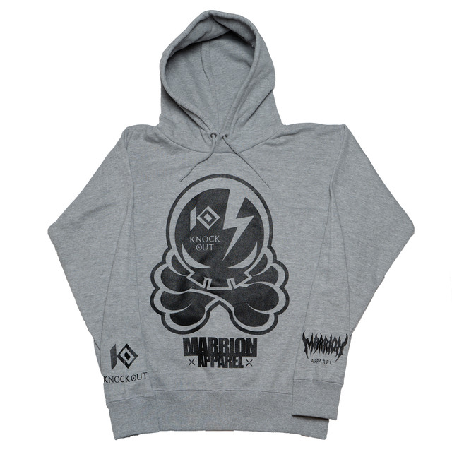 KNOCKOUT×MARRIONAPPAREL OCTOPUS SKULL  Hoodie (Gray×Black)