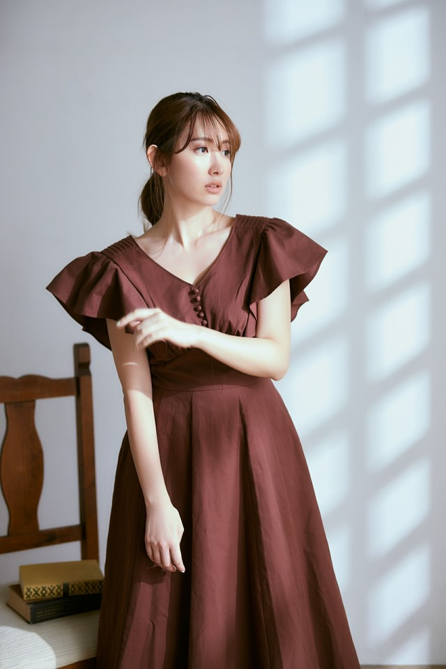 Deep V Back Long Dress