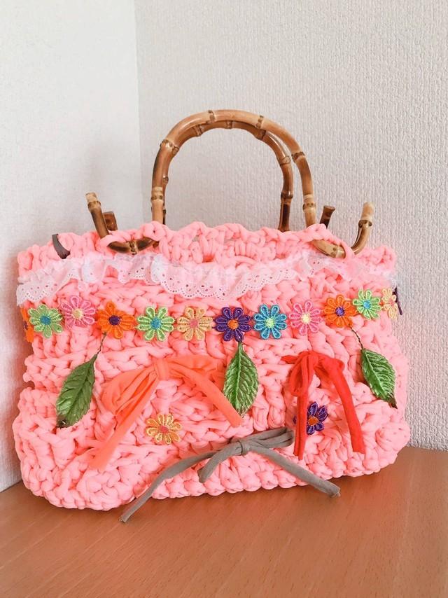 ピンクのお花のレースバスケット[Q200-13]