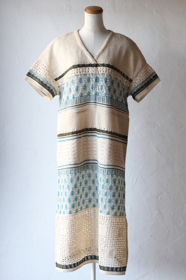 【COOHEM】EMBOSS EYELET KNIT ONEPIECE
