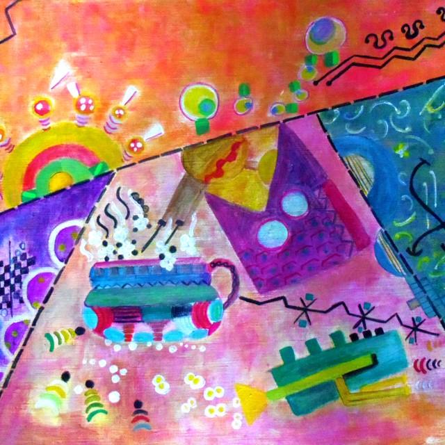 絵画 絵 ピクチャー 縁起画 モダン シェアハウス アートパネル アート art 14cm×14cm 一人暮らし 送料無料 インテリア 雑貨 壁掛け 置物 おしゃれ イラスト 現代アート  ロココロ 画家 : なったこ 作品 : n-4