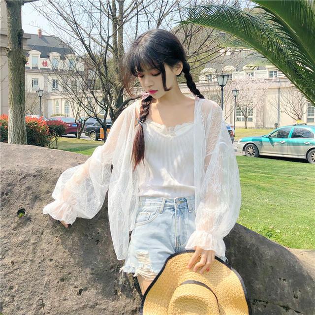 【送料無料】 夏のお出掛けに♡ 花柄 レース カーディガン シースルー キャンディスリーブ ガーリー