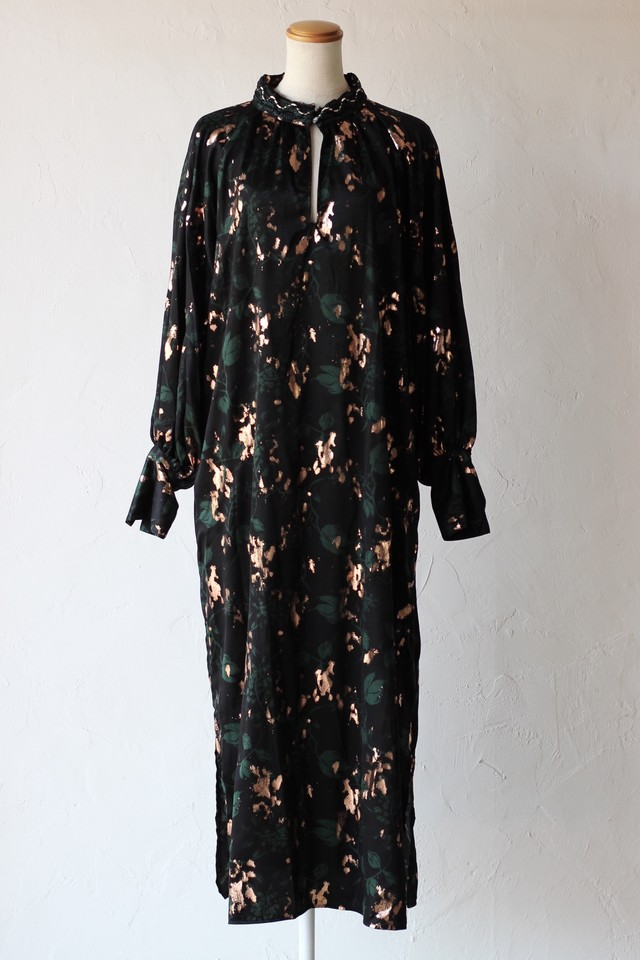【EBONY】foil flower dress-black