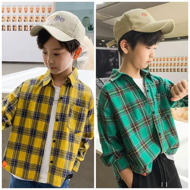 120〜180cm 2カラー ★ 男の子 シャツ 長袖 ニコちゃんマーク チェック柄 バックデザイン