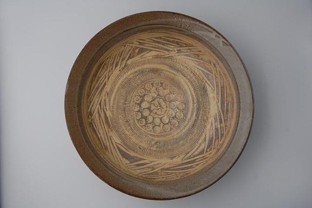 ◆受注生産◆黄粉引印花尺鉢