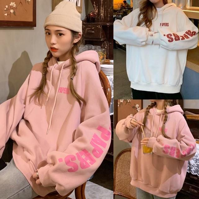 パーカー プルオーバー プラスベルベット ルーズ カジュアル 韓国ファッション レディース フーディー ゆったり 大きめ ストリート系 ファッション / Loose Plus Velvet Hooded Lazy Wind Sweater (DTC-627139520644)