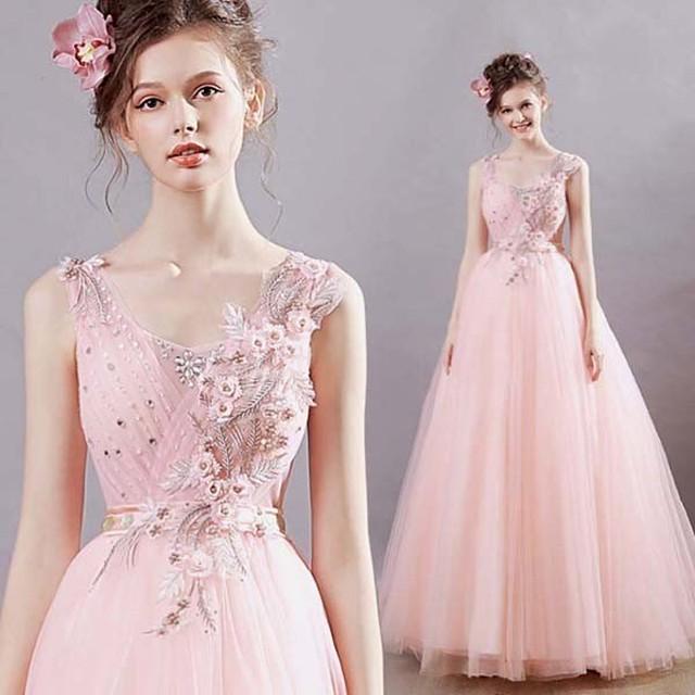 パーティードレス ノースリーブ 編み上げスタイル  Vネック ワンピース 花嫁 披露宴 上品 優雅 ピンク 20代 30代 40代 50代