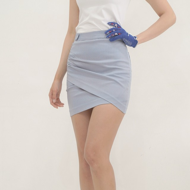 Stripe Shirring Skirts(Blue)