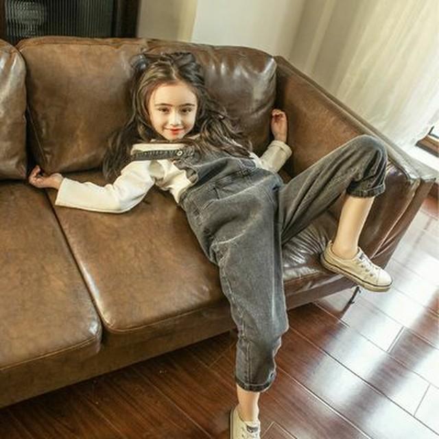 【ママサイズ有】ベーシック デニム オーバーオール ★ 110~150cm+ママサイズ 2カラー ゆったり シルエット ナチュラル シンプル デザイン サロペット 2019s/s 韓国 子供服 女の子 ガールズ /P099