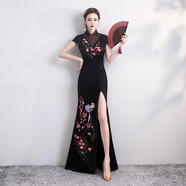 改良型チャイナドレス パーティードレス ロング丈ワンピース ロングドレス 女子会 二次会 お呼ばれドレス 発表会 大きいサイズ S M L LL 3L 4L チャイナ風ドレス マーメイドライン ブラック 黒い 刺繍