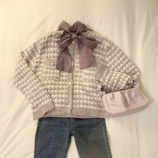 colour tweed cardigan(Dark pink)