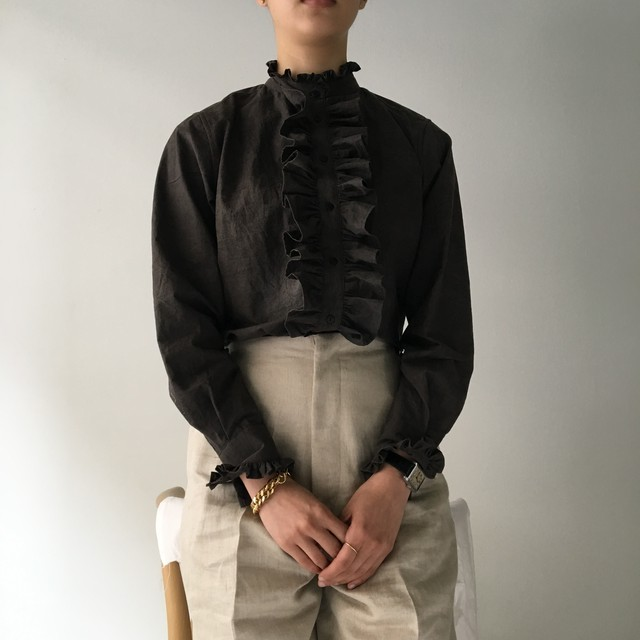 """Frill Blouse """"black kassis"""" Natural dyed"""