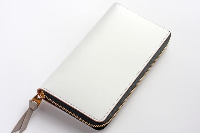 ※完売※ホワイトレザー(栃木レザー)_ホワイト◆外装◆おとな財布◆ラウンドジップ◆ブラック