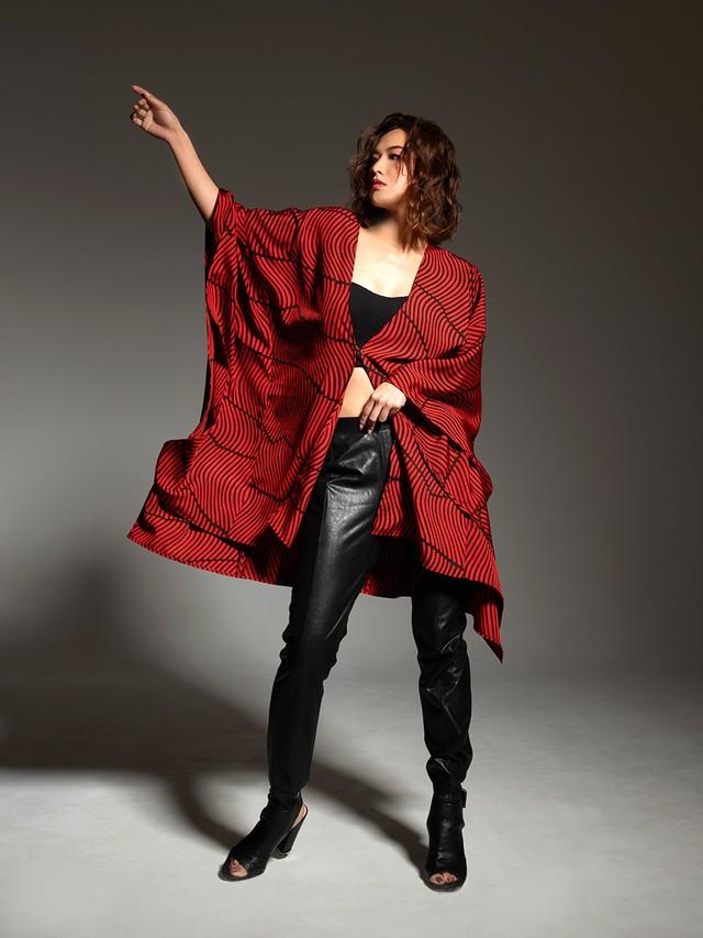 着物ポンチョ(Kimono poncho)Red