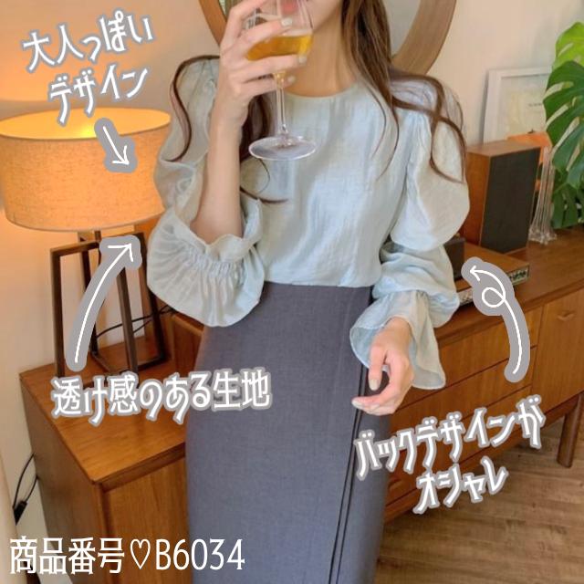 【Instagram特集掲載商品☆】パフスリーブ バックリボン シースルー ブラウス 2色 B6034