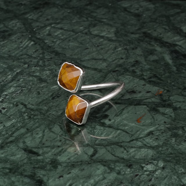 DOUBLE STONE OPEN RING SILVER 012
