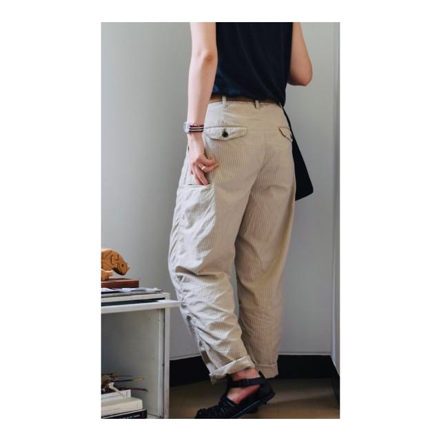 Simva123-0072-Beige Pin-Stripe 1P Long Pant