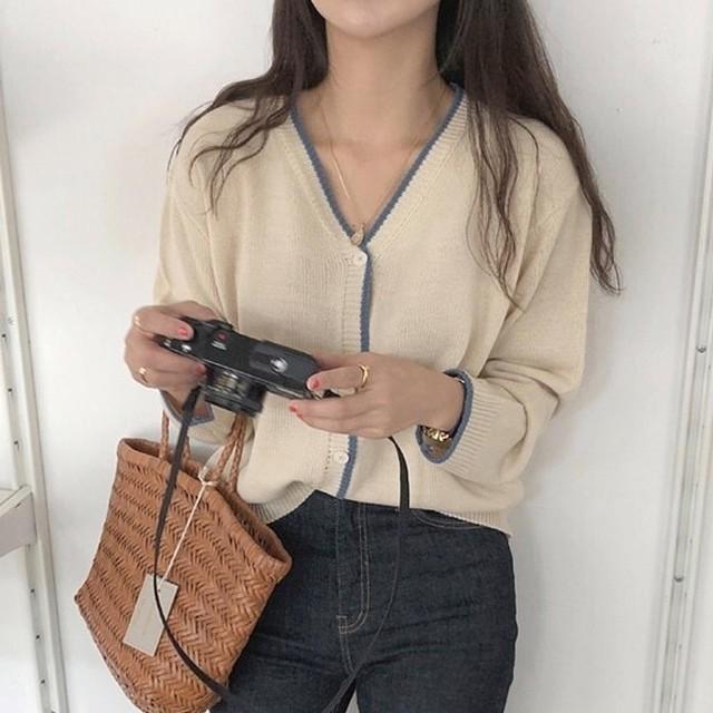 【韓国レディースファッション】 6452 大人可愛い シンプル カーディガン 送料無料
