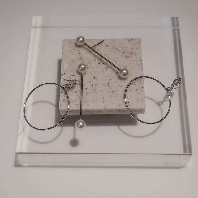 [Silver925] ラインパールピングピアス