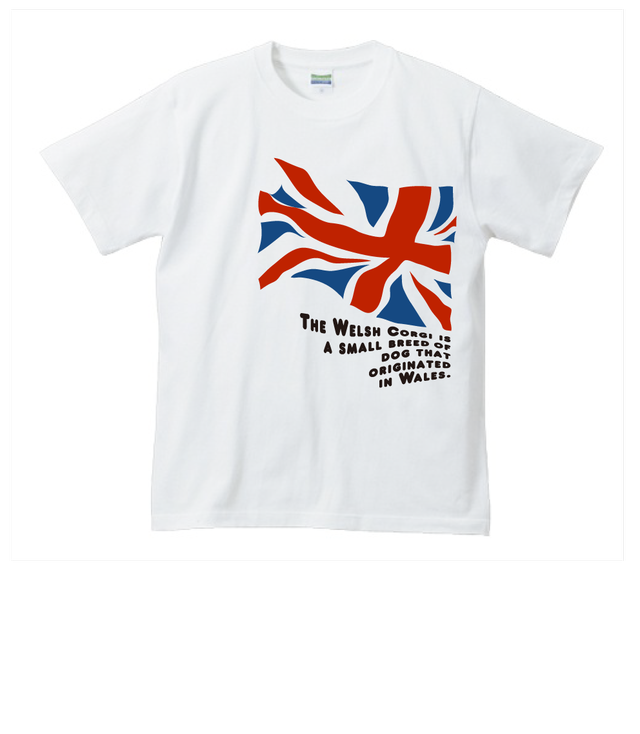 NO.0059 大好きなコーギー!揺れるユニオンジャックTシャツ