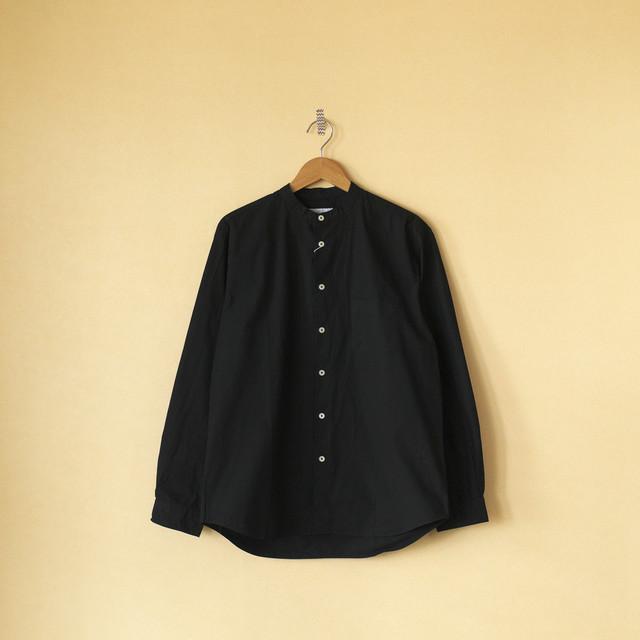 Manual Alphabet マニュアルアルファベット ルーズフィットバンドカラーシャツ Loosefit band collar shirt・ブラック【メンズ】