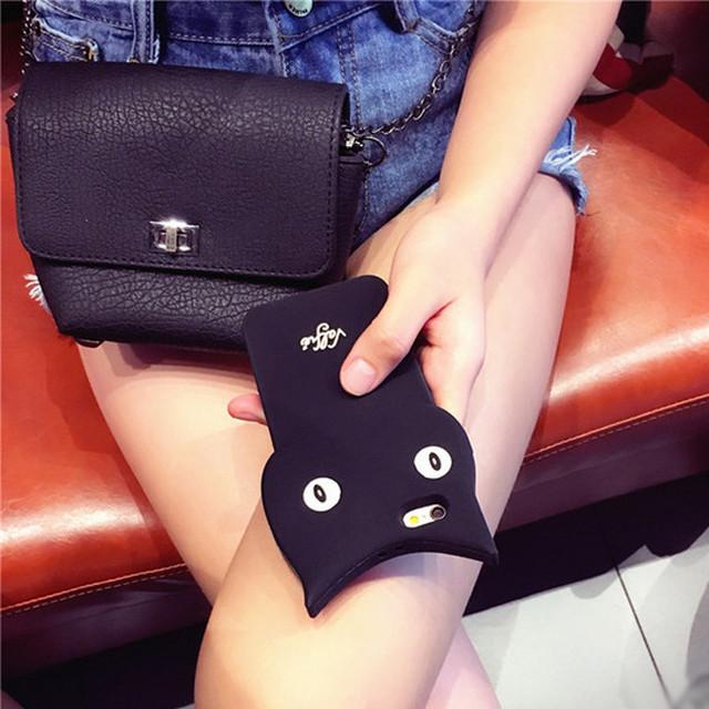 黒猫 シリコン iPhoneケース(iPhone6/6Plus専用)ケース/アイフォンケース クロネコ ネコ耳