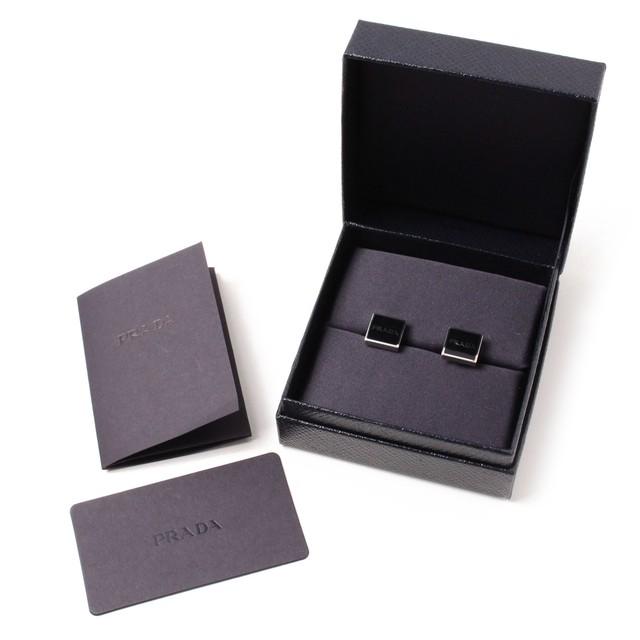 PRADA プラダ カフリンクス black ロゴ[全国送料無料] r017485