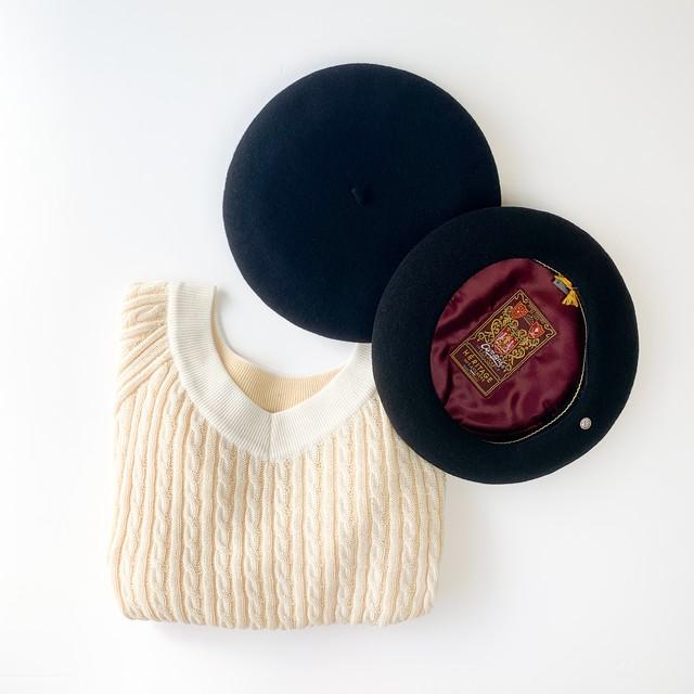 LAULHERE - メリノウールバスクべレー帽 Campan - Black / Navy