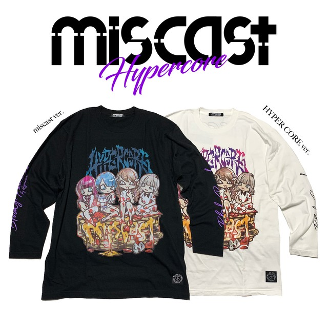 """mis-01D miscast × HYPER COREコラボレーション""""miscast on the BLOODY PANCAKE""""ロングスリーブTシャツ(白)"""