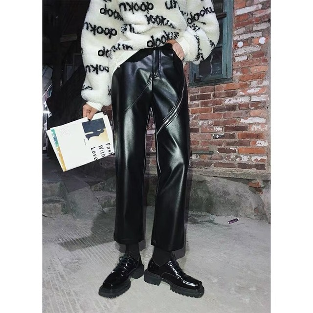 thighs zipper leather pants