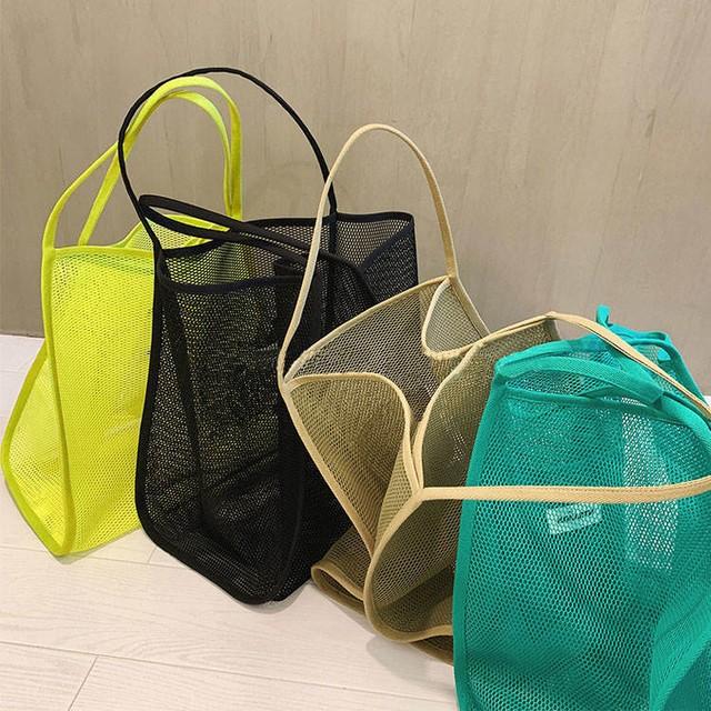 【送料無料】 大きめサイズ♡ カジュアル カラフル 透け感 メッシュ トート バッグ 大容量 エコバッグ