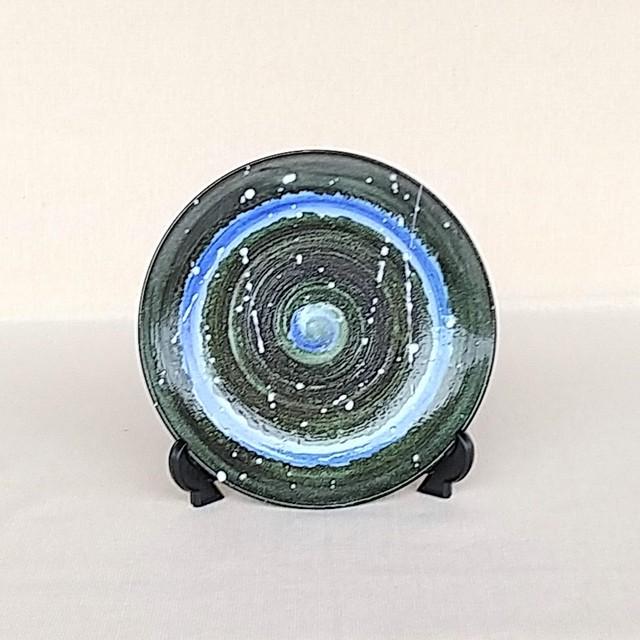 秀島窯作 光彩釉 銀河 プレート (ブルー)